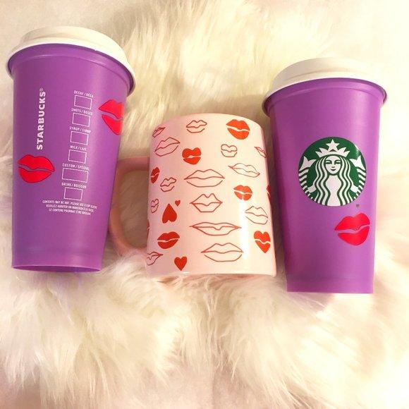 LIPS AND HEARTS VALENTINE MUG & Purple REUSABLE